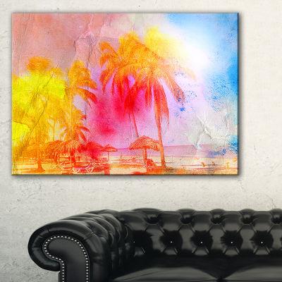 Designart Retro Palms Yellow Watercolor Trees Painting Canvas Art Print