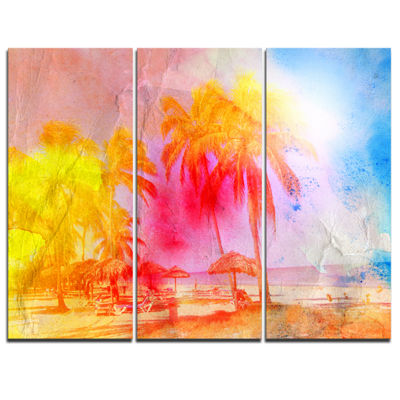 Designart Retro Palms Yellow Watercolor Trees Painting Canvas Art Print - 3 Panels