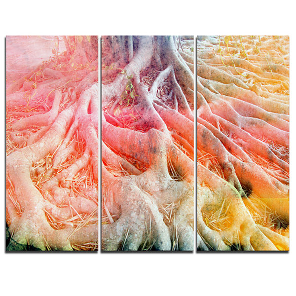 Design Art Retro Tree Roots Watercolor Trees Painting Canvas Art Print - 3 Panels