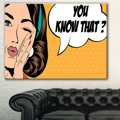 Designart Retro Woman In Comic Style Abstract Portrait Canvas Print - 3 Panels