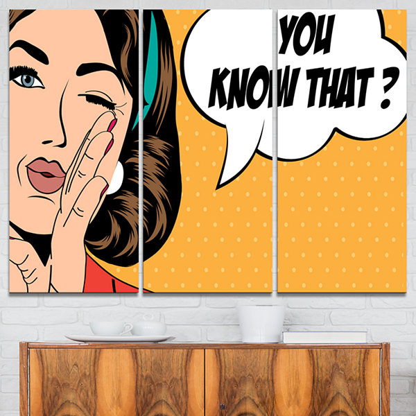 Designart Retro Woman In Comic Style ContemporaryPortrait Canvas Print - 3 Panels