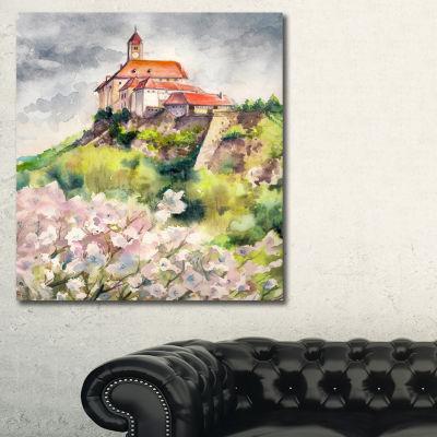 Designart Riegersburg Castle Watercolor LandscapePainting Canvas Print - 3 Panels