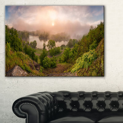Designart Rising Above The River Mist Landscape Photo Canvas Art Print