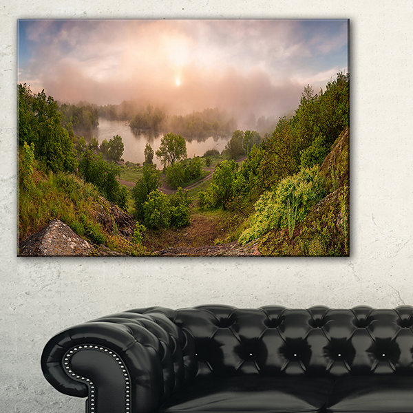 Designart Rising Above The River Mist Landscape Photo Canvas Art Print - 3 Panels