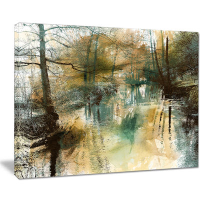 Designart River And Trees Oil Painting LandscapePainting Canvas Print