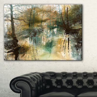 Design Art River And Trees Oil Painting LandscapePainting Canvas Print - 3 Panels