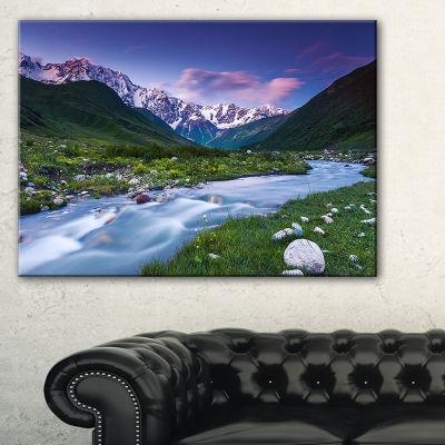 Designart River In Caucasus Mountains Landscape Photo Canvas Art Print - 3 Panels