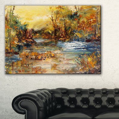 Designart River In Forest Oil Painting LandscapePainting Canvas Print - 3 Panels