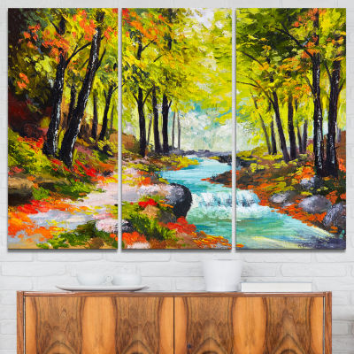 Designart River In Green Autumn Forest Landscape Painting Canvas Print - 3 Panels