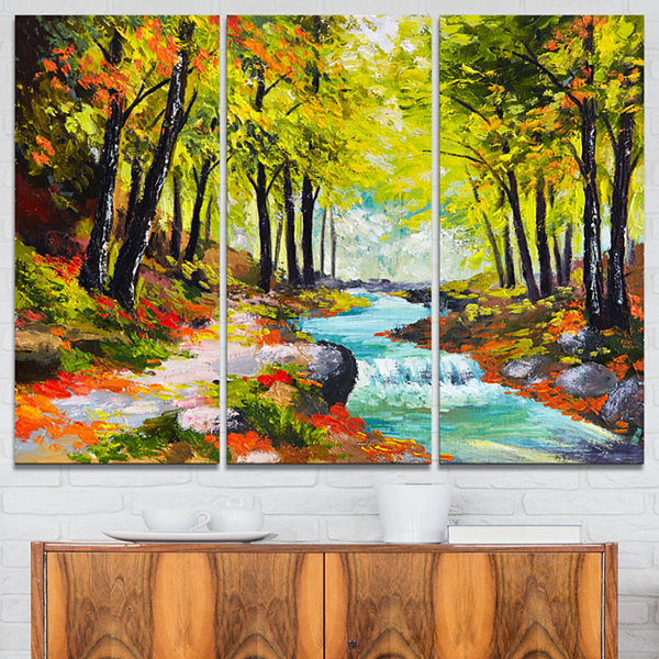 Designart River In Green Autumn Forest LandscapePainting Canvas Print - 3 Panels