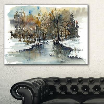 Designart River In Woods Watercolor Landscape Painting Canvas Print - 3 Panels