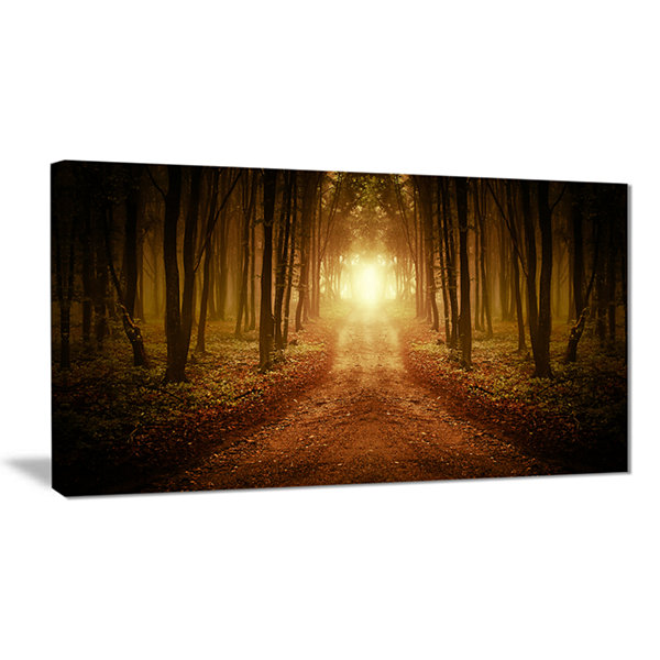 Designart Road In Symmetrical Forest Landscape Photography Canvas Print