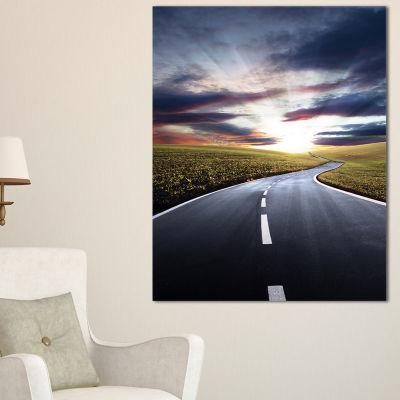 Design Art Road To Hills Under Clouds Landscape Photo Canvas Art Print