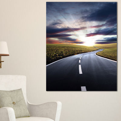 Designart Road To Hills Under Clouds Landscape Photo Canvas Art Print - 3 Panels