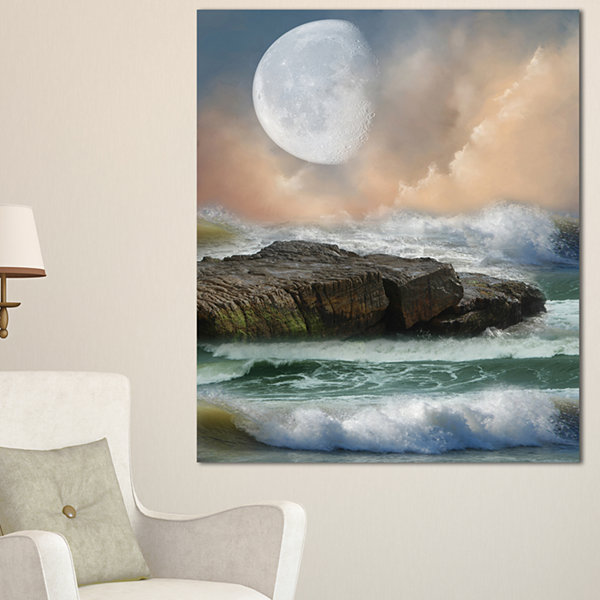 Designart Roaring Ocean Under Moon Seascape Photography Canvas Art Print