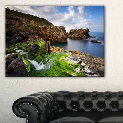 Designart Rocks And Waterfall In Spanish Coast Seashore Photo Canvas Print - 3 Panels