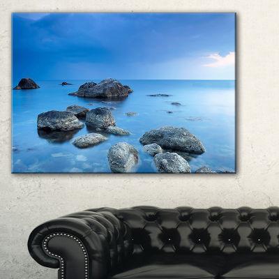 Designart Rocky Blue Sea Seascape Photography Canvas Art Print - 3 Panels