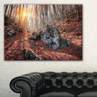 Designart Rocky Red Autumn Forest Landscape Photography Canvas Art Print
