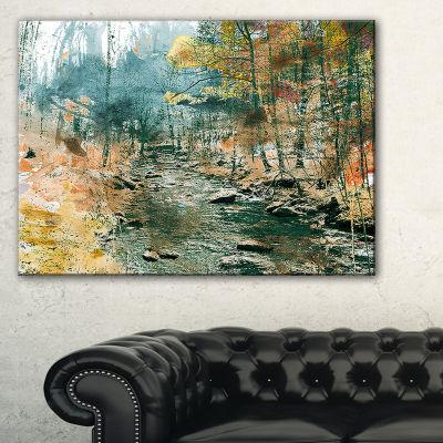 Designart Rocky River Landscape Painting Canvas Art Print - 3 Panels