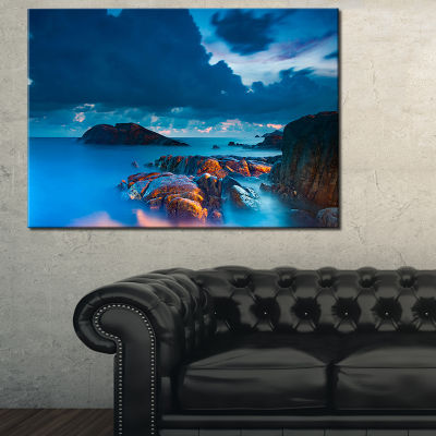 Designart Rocky Sea With Long Exposure Seashore Photo Canvas Art Print