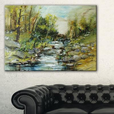 Designart Rocky Terrain With Creek Landscape Painting Canvas Print - 3 Panels