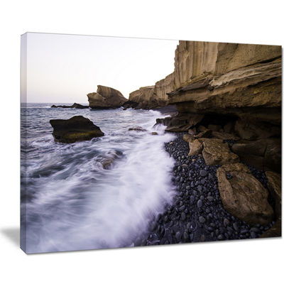 Designart Rolling Stones At Beach Seashore PhotoCanvas Art Print