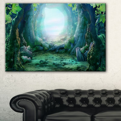 Designart Romantic Blue Forest View Landscape Photo Canvas Art Print