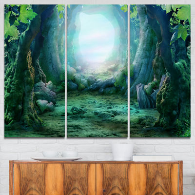 Designart Romantic Blue Forest View Landscape Photo Canvas Art Print - 3 Panels