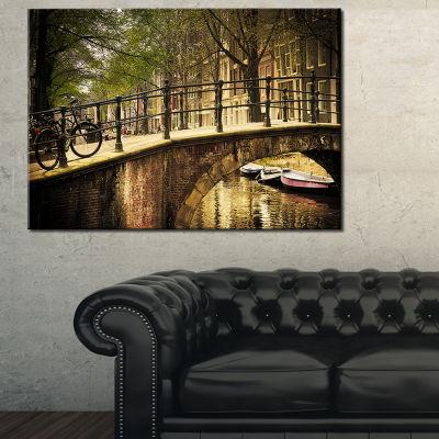 Designart Romantic Bridge Over Canal Landscape Photography Canvas Print