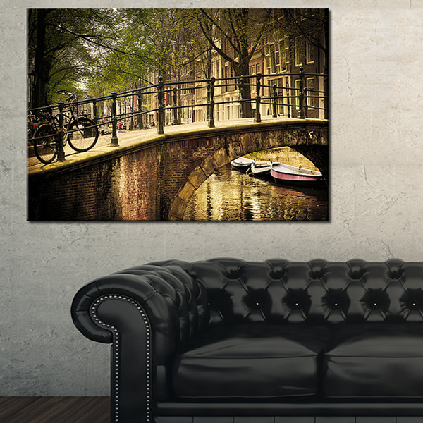 Designart Romantic Bridge Over Canal Landscape Photography Canvas Print - 3 Panels