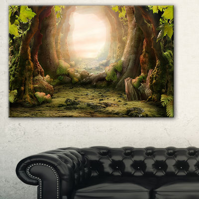 Design Art Romantic Green Forest View Landscape Photo Canvas Art Print