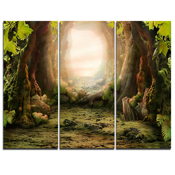Designart Romantic Green Forest View Landscape Photo Canvas Art Print - 3 Panels