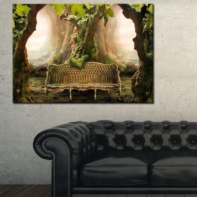 Designart Romantic Seat In Deep Forest LandscapePhotography Canvas Print - 3 Panels