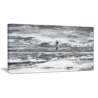 Designart Running Horse Through Water Abstract Canvas Painting