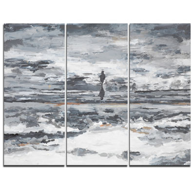 Designart Running Horse Through Water Abstract Canvas Painting - 3 Panels