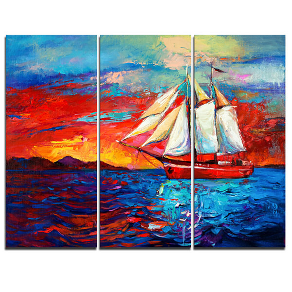 Designart Sail Ship During Sunset Seascape CanvasArt Print - 3 Panels