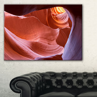 Designart Sandstone Waves In Canyon Landscape Photography Canvas Print - 3 Panels