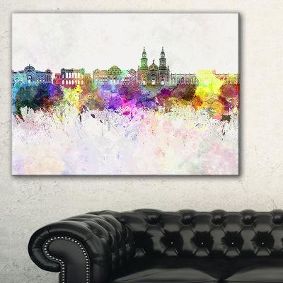 Designart Santiago De Chile Skyline Cityscape Painting Canvas Print - 3 Panels