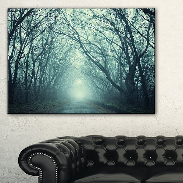 Designart Scary Forest With Green Light LandscapePhotography Canvas Print - 3 Panels