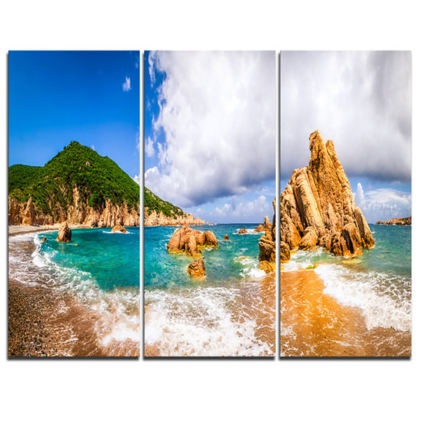 Designart Scenic Costa Paradiso Seashore Photo Canvas Art Print - 3 Panels