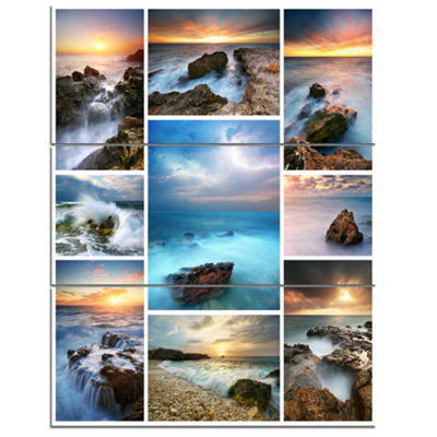 Designart Sea And Shore Collage Seascape Photography Canvas Art Print - 3 Panels