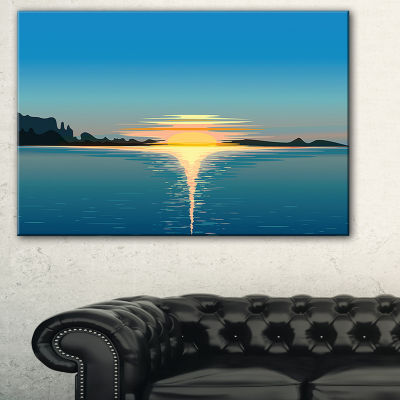 Designart Sea Sinking Sun Seascape Canvas Art Print - 3 Panels