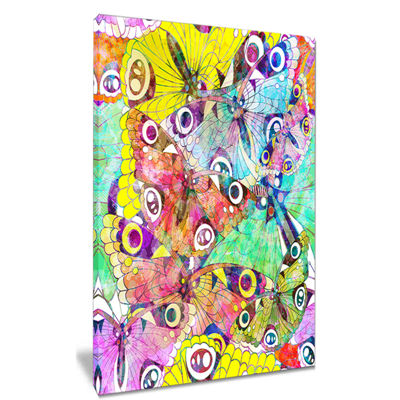 Designart Seamless Butterflies Floral Art CanvasPrint