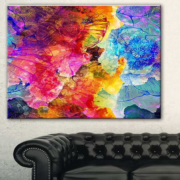 Designart Seamless Colors Abstract Canvas Art Print - 3 Panels