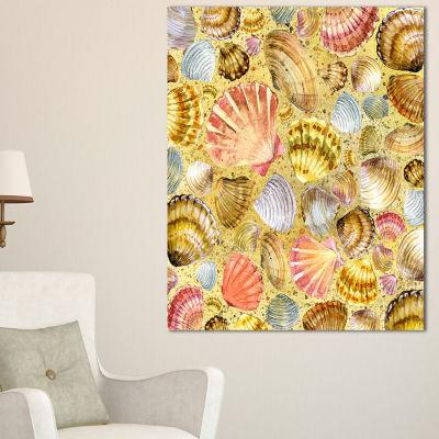 Designart Seashell And Sea Sand Beach PhotographyCanvas Art Print - 3 Panels
