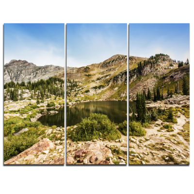 Designart Secret Lake At Albion Basin Landscape Photography Canvas Print - 3 Panels