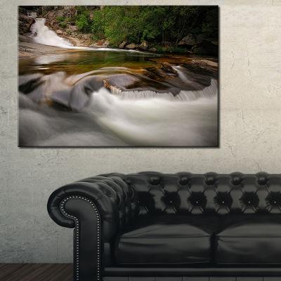 Designart Segade Waterfall Galicia Spain LandscapePhoto Canvas Art Print - 3 Panels