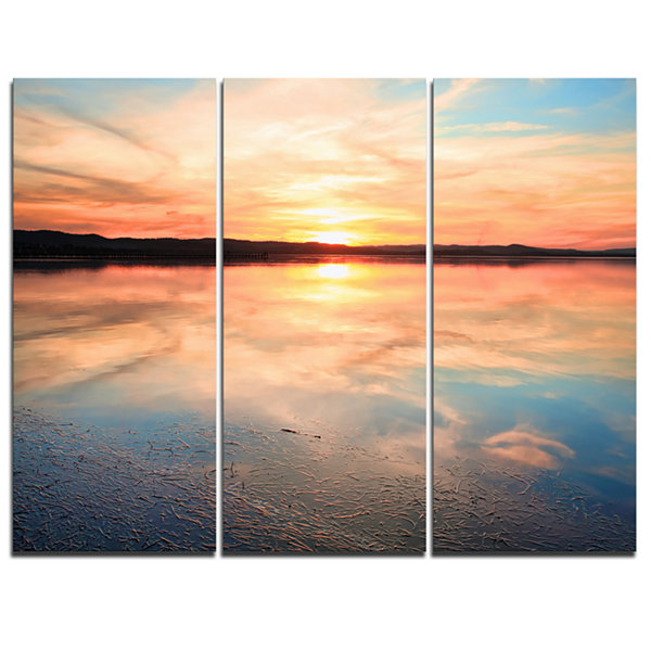 Designart Sensational Sunset In Australia SeascapeCanvas Art Print - 3 Panels