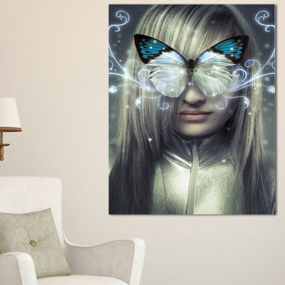 Designart Serious Young Blonde Abstract PortraitCanvas Print - 3 Panels