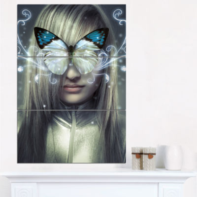 Designart Serious Young Blonde Abstract Portrait Canvas Print - 3 Panels